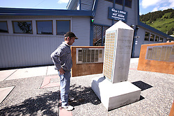 USA ALASKA 29JUN12 - Third mate Kevin Bell of Alaska pays tribute to deceased colleagues at the Fishermens' memorial near the harbour master office in Kodiak, Alaska.....Photo by Jiri Rezac / Greenpeace