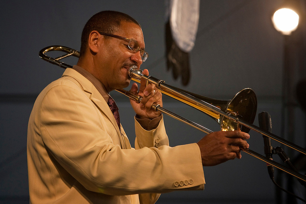 Delfeayo Marsalis performing on the Jazz Tent stage at the New Orleans Jazz and Heritage Festival at the New Orleans Fair Grounds Race Course in New Orleans, Louisiana, USA, 30 April 2009.
