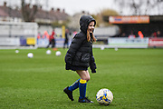 The match day mascots have a kick about ahead of the EFL Sky Bet League 1 match between AFC Wimbledon and Fleetwood Town at the Cherry Red Records Stadium, Kingston, England on 30 March 2018. Picture by Stephen Wright.