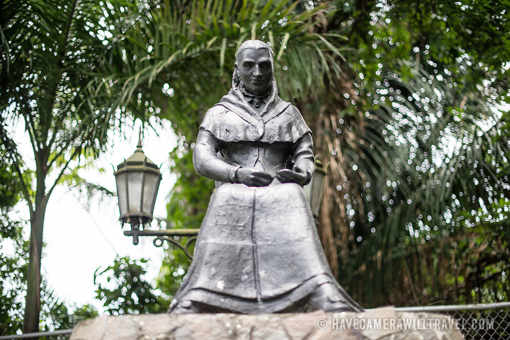 A statue of Amelia Denis de Icaza (1836-1911), a Panamanian romantic poet and the first published Panamanian woman to publish her poetry. The statue sits on top of Ancon Hill overlooking Panama City. Ancon Hill is only 654-feet high but commands an impressive view out over the new and old sections of Panama City. With views out over both the Pacific Ocean and the entrance to the Panama Canal, the area was historically where the administration of the Panama Canal was centered and now has a mix of high-end residences and government departments.