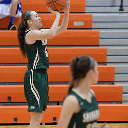 Staff photos by Tom Kelly IV<br /> Shanahan's Ciara Forde (5) puts up a three pointer during the Bishop Shanahan at Marple Newtown girls basketball game, during the 7th annual holiday tournament on Saturday, December 27, 2014.