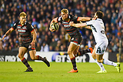Duhan van der Merwe holds off Peter Horne during the Guinness Pro 14 2017_18 match between Edinburgh Rugby and Glasgow Warriors at Myreside Stadium, Edinburgh, Scotland on 28 April 2018. Picture by Kevin Murray.