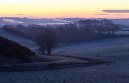 A frosty dawn in Arreton Valley on the Isle of Wight. The steam from Wight Salads is seen in the distance.