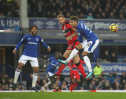 Laurent Depoitre of Huddersfield Town (C) misses a goal scoring opportunity - Mandatory by-line: Jack Phillips/JMP - 02/12/2017 - FOOTBALL - Goodison Park - Liverpool, England - Everton v Huddersfield Town - English Premier League