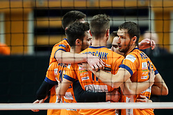 Players of ACH Volley celebrate during volleyball match between ACH Volley Ljubljana and Zenit Saint Petersburg in 4th Round Pool C of 2019 CEV Volleyball Champions League, on December 18, 2018 in Hala Tivoli, Ljubljana, Slovenia. Photo by Matic Klansek Velej / Sportida