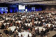 Les Evénements les Affaires. Palais des Congrès, 13 février 2012. Présentation du Plan Nord par le 1er Ministre du Québec, Jean Charest, lors d'un repars. Photo Aude Vanlathem