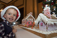 27/11/2014 Repro freeThe wonder of Christmas! Shane  Lia Corcoran Clarinbridge took a peek at Hotel Meyrick&rsquo;s stunning creation of a traditional Gingerbread train station and set which is on display in the parlour lounge until Christmas Eve when it will be donated to the St Bernadette&rsquo;s children&rsquo;s ward at University College hospital Galway, www.hotelmeyrick.ie. <br />  . Photo:Andrew Downes