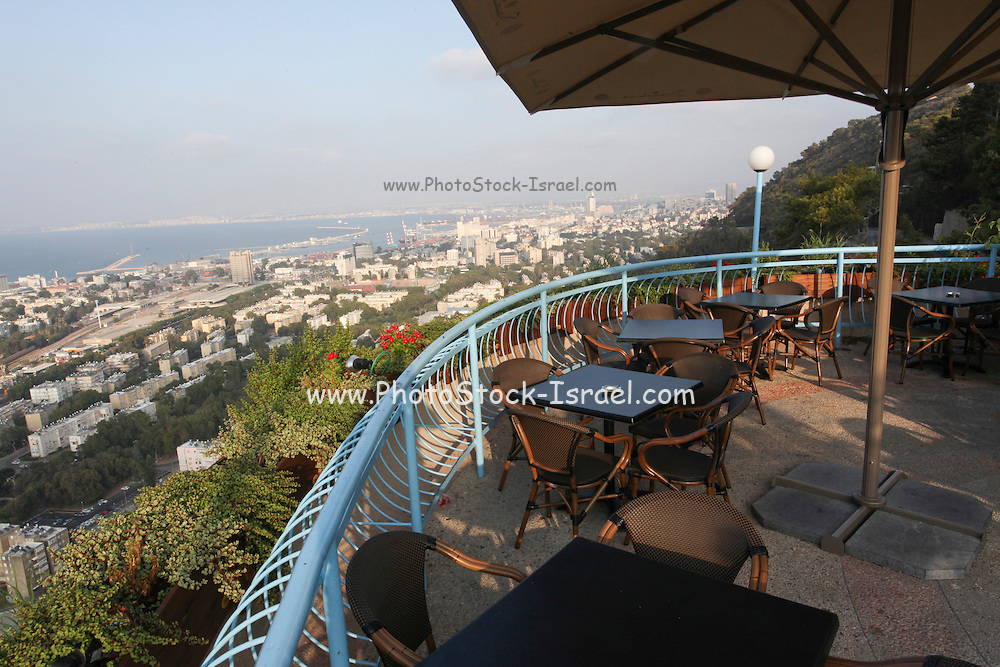 Israel, Haifa, view of the city and Haifa Bay from Stella Maris on the Carmel Mountain