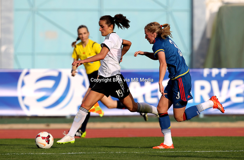 Fifa Womans World Cup Canada 2015 - Preview //<br /> Algarve Cup 2015 Tournament ( Vila Real San Antonio Sport Complex - Portugal ) - <br /> Germany vs Sweden 2-4   -  Linda Sembrant of Sweden (R) challenges with  Fatmire Alushi of Germany (L)
