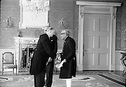 02/08/1962<br /> 08/02/1962<br /> 02 August 1962<br /> Indian Ambassador presents credentials at Aras an Uachtarain. New Indian Ambassador Mr Mohammedali Currim Chagha presented his letters of Credence to President Eamon de Valera. Picture shows Ambassador Mr Mohammedali Currim Chagha presenting his credentials to President de Valera, included is Mr Frank Aiken Minister for External Affairs.