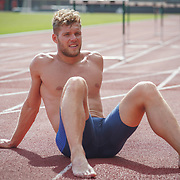 JANUARY 24, 2019--MIAMI, FLORIDA,<br /> Kevin Mayer, a world record holder in decathlon from France, rests after a work out in a track and field facility on the University of Miami.<br /> (Photo by Angel Valentin)