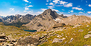 Overlooking the valley of the North Fork of the Popo Agie River (left) and Lizard Head Peak (center)  in the Wind River Range, Shoshone National Forest, Wyoming