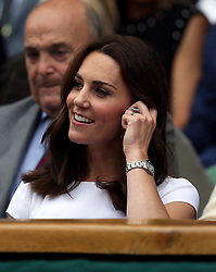 The Duchess of Cambridge, Patron of the All England Lawn Tennis and Croquet Club (AELTC) in the royal box of centre court on day thirteen of the Wimbledon Championships at The All England Lawn Tennis and Croquet Club, Wimbledon.