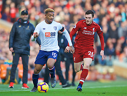 LIVERPOOL, ENGLAND - Saturday, February 9, 2019: AFC Bournemouth's Jordon Ibe (L) and Liverpool's Andy Robertson during the FA Premier League match between Liverpool FC and AFC Bournemouth at Anfield. (Pic by David Rawcliffe/Propaganda)