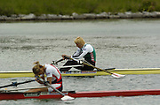 Munich, GERMANY, BLR W1X Ekaterina Kartsen, [Khodotovitch],  CZE W1X, Mirka Knapove, 2006, FISA, Rowing, World Cup, on the Olympic Regatta Course, Munich,Sat.  27.05.2006. © Peter Spurrier/Intersport-images.com,  / Mobile +44 [0] 7973 819 551 / email images@intersport-images.com.[Mandatory Credit, Peter Spurier/ Intersport Images] Rowing Course, Olympic Regatta Rowing Course, Munich, GERMANY