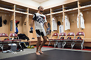 HOUSTON, TX - OCTOBER 3:  Sergio Pettis warms up backstage before his fight against Chris Cariaso during UFC 192 at the Toyota Center on October 3, 2015 in Houston, Texas. (Photo by Cooper Neill/Zuffa LLC/Zuffa LLC via Getty Images) *** Local Caption *** Sergio Pettis