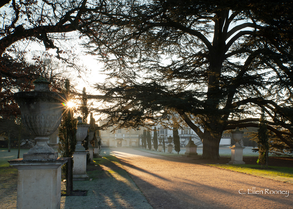Sunrise along the main avenue at Chiswick House on a frosty February morning.  Chiswick, London, UK