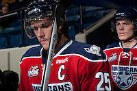KELOWNA, CANADA -FEBRUARY 19: Mitch Topping #25 of the Tri City Americans enters the ice against the Kelowna Rockets on February 19, 2014 at Prospera Place in Kelowna, British Columbia, Canada.   (Photo by Marissa Baecker/Getty Images)  *** Local Caption *** Mitch Topping;