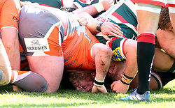 The scrum between Leicester Tigers and Newcastle Falcons collapses - Mandatory by-line: Robbie Stephenson/JMP - 15/04/2017 - RUGBY - Welford Road - Leicester, England - Leicester Tigers v Newcastle Falcons - Aviva Premiership