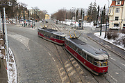 An old style number 22 tram drives over a cobbled road, on 18th March, 2018, in Prague, the Czech Republic.