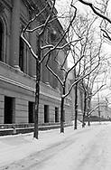Snow outside the Metropolitan Museum of Art.