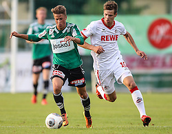 06.07.2013, Dr. Franz Hofmaninger Stadion, Bad Wimsbach, AUT, Testspiel, 1. FC Koeln vs SV Josko Ried, im Bild Julian Baumgartner, (SV Josko Ried, #15) und Maxi Thiel, (1. FC Koeln, #15) //during Friendly Match between 1. FC Koeln and SV Josko Ried at the Dr. Franz Hofmaninger Stadion, Bad Wimsbach, Austria on 20130706. EXPA Pictures © 2013, PhotoCredit: EXPA/ Roland Hackl