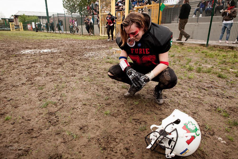 Cernusco SN, 28 aprile 2013 - Prima partita del primo Campionato Italiano di Football Americano Femminile. Furie  - Tempeste Sirene. 32 - Melissa Pezza
