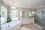 Bathroom interior designed by Julie Wait Designs photographed on Wednesday, June 18, 2014 in Rogers, Ark.<br /> <br /> Photo by Beth Hall