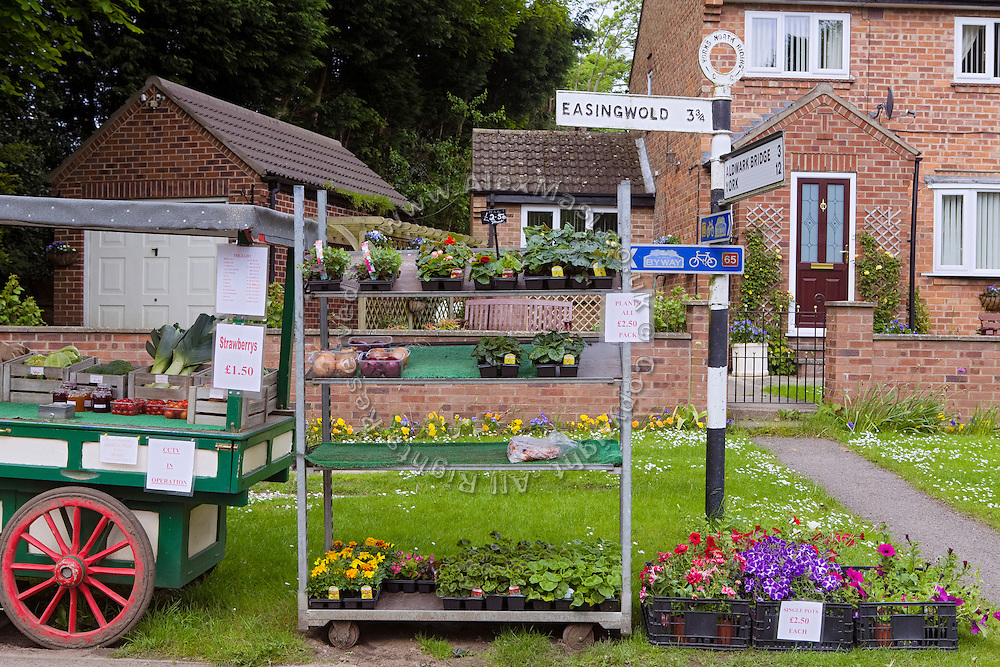 Plants, vegetables and flowers are on sale in front of a house near  Easingwold, Yorkshire, England, United Kingdom.