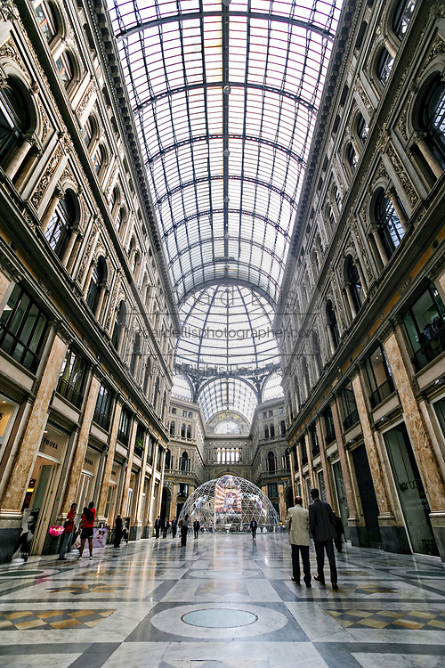 Interior of the Galleria Umberto I public shopping gallery in Naples, southern Italy. Built between 1887–1891 by Emanuele Rocco.