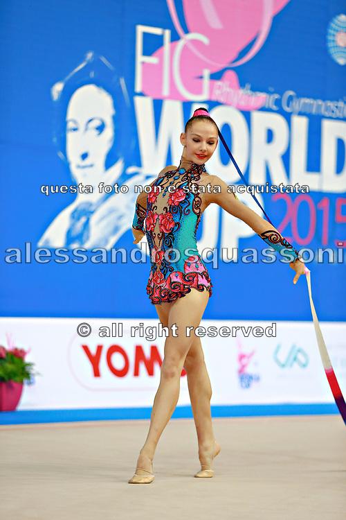 Serdyukova Anastasiya during final at ribbon in the Pesaro World Cup April 12, 2015. Anastasiya is an Azerbaijani individual rhythmic gymnast, she was born on May 29, 1997 in Tashkent, Uzbekistan. Her goal is to compete at the 2020 Olympic Games in Tokyo.