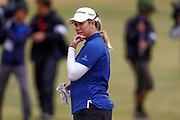 A contemplating Brittany Lincicome in the rain during the Ricoh Women's British Open at Royal Lytham and St Annes Golf Club, Lytham Saint Annes, United Kingdom on 2 August 2018. Picture by Simon Davies.