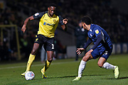 Lucas Akins takes on Nathan Ralph during the EFL Sky Bet League 1 match between Burton Albion and Southend United at the Pirelli Stadium, Burton upon Trent, England on 3 December 2019.