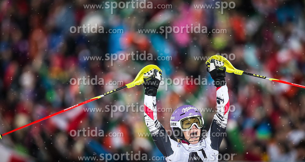 14.01.2014, Hermann Maier Weltcupstrecke, Flachau, AUT, FIS Weltcup Ski Alpin, Slalom, Damen, 2. Durchgang, im Bild jubel von Michaela Kirchgasser (AUT) // Michaela Kirchgasser of Austria reacts in the finish area after her 2nd run of the ladies Slalom of the FIS Ski Alpine World Cup at the Hermann Maier World Cup course in Flachau, Austria on 2014/01/14. EXPA Pictures © 2013, PhotoCredit: EXPA/ Johann Groder
