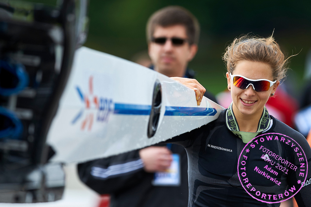 (stroke) Marta Wierzbowska from Poland holds her boat  after their Semifinal Lightweight Woman&rsquo;s Pair (W2-) during second day the 2015 European Rowing Championships on Malta Lake on May 30, 2015 in Poznan, Poland<br /> Poland, Poznan, May 30, 2015<br /> <br /> Picture also available in RAW (NEF) or TIFF format on special request.<br /> <br /> For editorial use only. Any commercial or promotional use requires permission.<br /> <br /> Mandatory credit:<br /> Photo by &copy; Adam Nurkiewicz / Mediasport