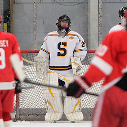 TOM KELLY IV - DAILY TIMES<br /> Springfield goalie Bryan Biehl (26) stands in the net.  Penncrest takes on Springfield at Ice Works in Aston, Friday night December 2, 2014.