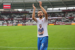 March 18, 2018 - Turin, Piedmont, Italy - Milan Badelj (ACF Fiorentina) celebrates the victory against Torino FC by showing a shirt with the face of Davide Astori, the recently deceased Viola player, after the Serie A football match between Torino FC and ACF Fiorentina at Olympic Grande Torino Stadium on 18 March, 2018 in Turin, Italy. Final results: 1-2  (Credit Image: © Massimiliano Ferraro/NurPhoto via ZUMA Press)