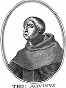 St Thomas Aquinas (c1225-1274) Italian philosopher and theologian; joined Dominican order (Black-friars); studied under Albertus Magnus at Cologne; wrote commentaries on Aristotle. Copperplate engraving