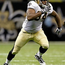August 12, 2011; New Orleans, LA, USA; New Orleans Saints defensive end Cameron Jordan (94) during the second half of a preseason game against the San Francisco 49ers at the Louisiana Superdome. The New Orleans Saints defeated the San Francisco 49ers Mandatory Credit: Derick E. Hingle