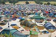 Flooded tents in a campsite, Glastonbury 2005