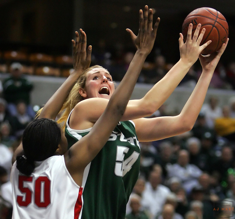 05 March 2006: Michigan State's Laura Hall (54) shoots as the Ohio State Buckeyes beat the Michigan State Spartans 68-64 Womens's Big 10 Tournament in a college basketball game in Indianapolis.