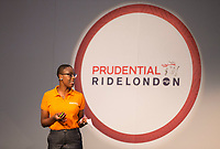 Cycling blogger Jools Walker, part of the Experts Show.  at The Cycling Show at The Excel Centre. Prudential RideLondon in London 27th July 2017<br /> <br /> Photo: Jed Leicester/Silverhub for Prudential RideLondon<br /> <br /> Prudential RideLondon is the world's greatest festival of cycling, involving 95,000+ cyclists – from Olympic champions to a free family fun ride - riding in events over closed roads in London and Surrey over the weekend of 27th to 30th July 2017. <br /> <br /> See www.PrudentialRideLondon.co.uk for more.<br /> <br /> For further information: media@londonmarathonevents.co.uk