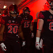18 November 2017:  The San Diego State football team hosts Nevada Saturday night. San Diego State Aztecs running back Rashaad Penny (20) and his teammates walk through the tunnels under SDCCU stadium leading out to the field to take on the Nevada Wolf Pack. The Aztecs lead 21-14 at the half. <br /> www.sdsuaztecphotos.com