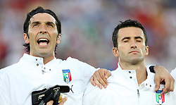 Goalkeeper of Italy Gienluigi Buffon singing the national song before the UEFA EURO 2008 Quarter-Final soccer match between Spain and Italy at Ernst-Happel Stadium, on June 22,2008, in Wien, Austria. Spain won after penalty shots 4:2. (Photo by Vid Ponikvar / Sportal Images)