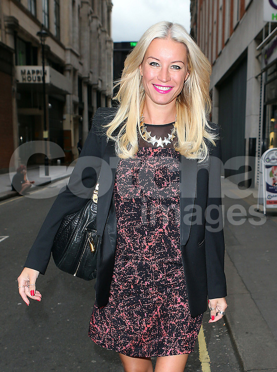 Denise Van Outen leaving Magic FM in central London, UK. 05/10/2013<br /> BYLINE MUST READ : JAMESY/GOTCHA IMAGES<br /> <br /> Copyright by &copy; Gotcha Images Ltd. All rights reserved.<br /> Usage of this image is conditional upon the acceptance <br /> of Gotcha Images Ltd, terms and conditions available at<br /> www.gotchaimages.com