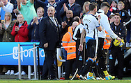 Newcastle United manager Rafa Benitez (l) takes a look around before leaving the pitch after the Barclays Premier League match at St. James's Park, Newcastle<br /> Picture by Simon Moore/Focus Images Ltd 07807 671782<br /> 15/05/2016
