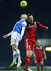 Bristol City's Stephen Pearson battles for the high ball with Blackburn Rovers' Danny Murphy - Photo mandatory by-line: Joe Meredith/JMP  - Tel: Mobile:07966 386802 05/01/2013 - Blackburn Rovers v Bristol City - SPORT - FOOTBALL - FA Cup -  BLACKBURN - EWOOD PARK -