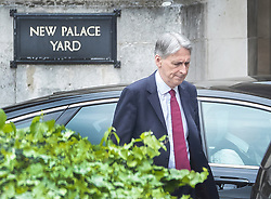 © Licensed to London News Pictures. 01/05/2019. London, UK. Chancellor Philip Hammond walks from Parliament after attending Prime Minister's Questions. Photo credit: Peter Macdiarmid/LNP
