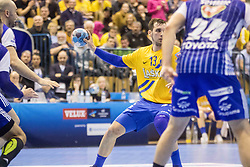 Sarac Josip of RK Celje Pivovarna Lasko  vs  Sostaric Mario of MOL Pick Zseged  during VELUX EHF Champions League handball match between RK Celje Pivovarna Lasko vs MOL Pick Szegad on the February 10. 2019, Celje, Slovenia. Photo by Matic Ritonja / Sportida