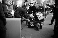 Germany, Frankfurt am Main :  Activists clash with police during a demonstration organized by the Blockupy movement to protest against the policies of the European Central Bank (ECB) on March 18, 2015. The Ecb inaugurated today its new headquarter.<br /> <br /> .